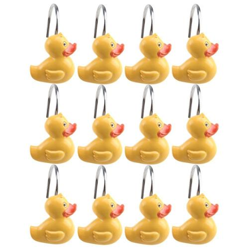 AGPtek 12PCS Yellow DUCK Anti Rust Decorative Ducky Resin Hooks for Bathroom Shower Curtain ,Bedroom,Living room