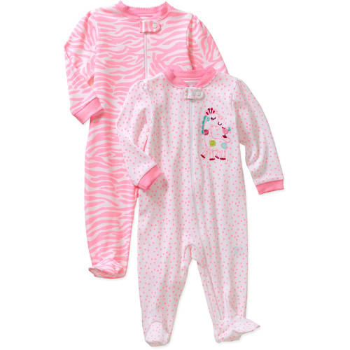 Garanimals Newborn Baby Girls' Cotton Sleep n' Plays, 2-Pack