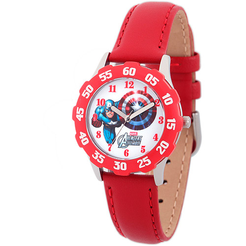 Marvel Captain America Boys' Stainless Steel with Red Bezel Watch, Red Leather Strap