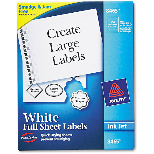 Avery White Shipping Labels with TrueBlock Technology for Inkjet Printers, Box of 100
