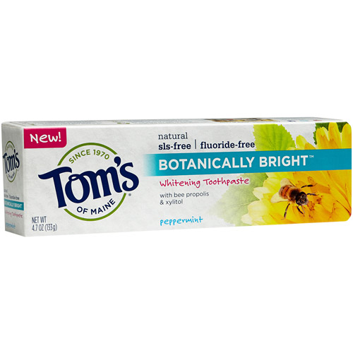Tom's of Maine Botanically Bright Peppermint Fluoride-Free Whitening Toothpaste, 4.7 oz