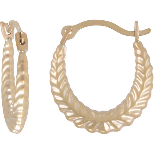 14kt Gold Patterned Hoop Earrings