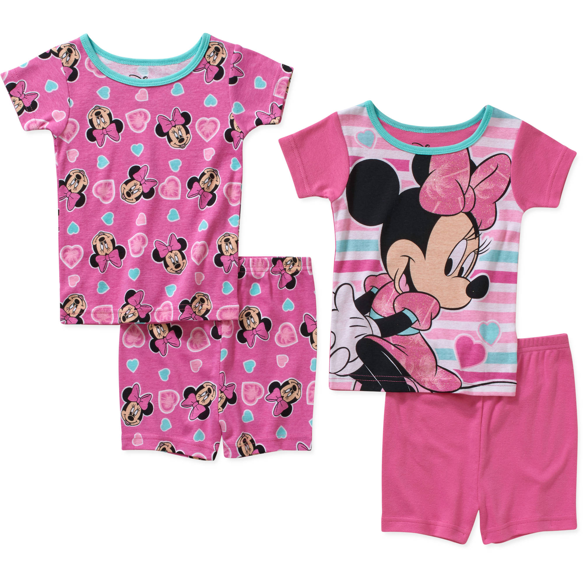 Minnie Mouse Toddler Girl Cotton Tight Fit Short Sleeve Sleep Set, 4-Pieces