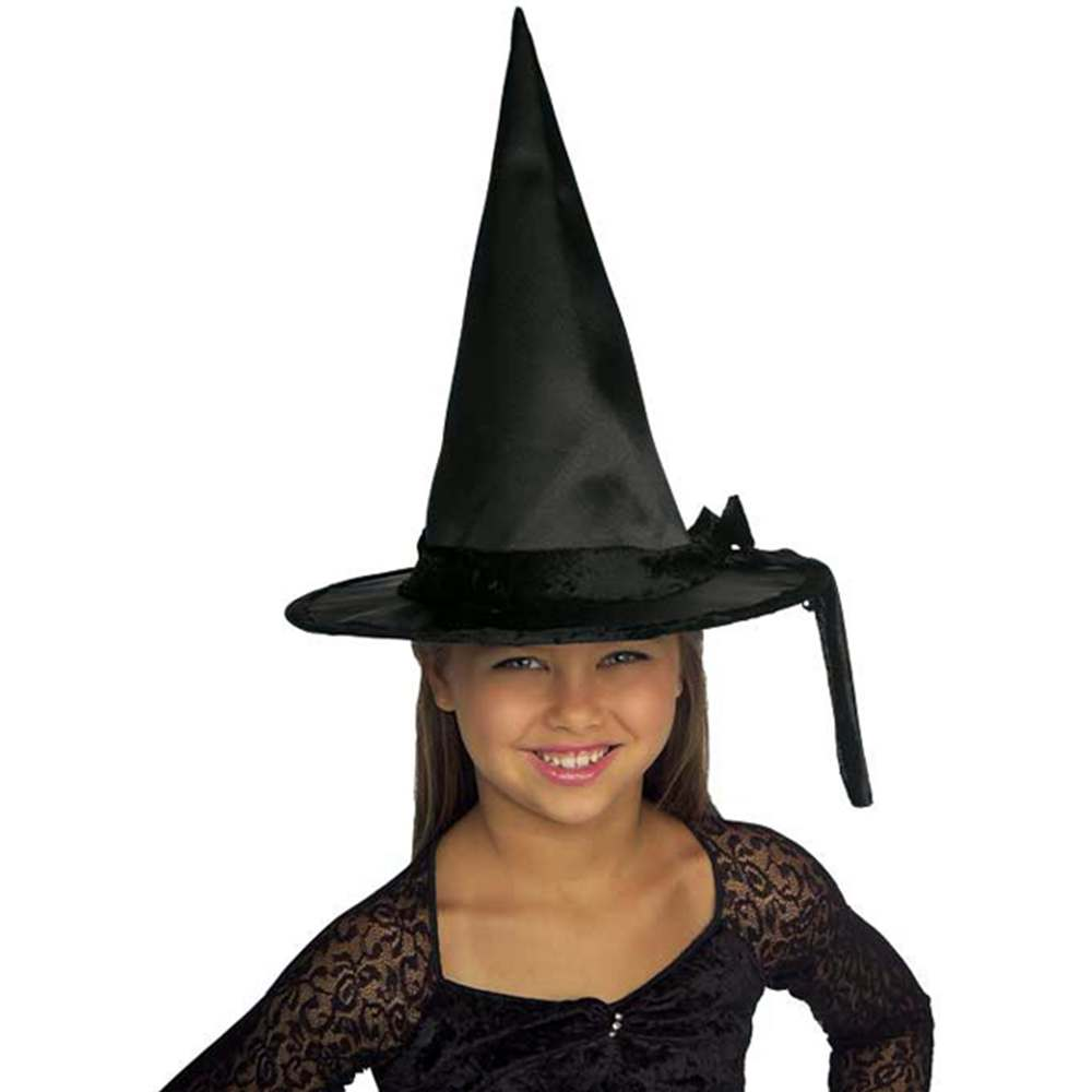 Kids' Black Satin Witch Hat