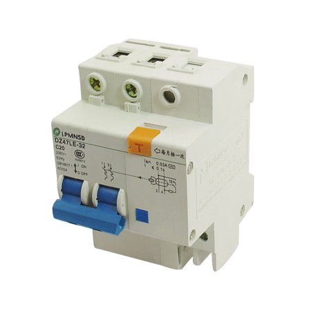 DZ47-63 C20 230VAC 20A 2P 6000A Breaking Capacity Earth Leakage Circuit Breaker - image 1 of 1