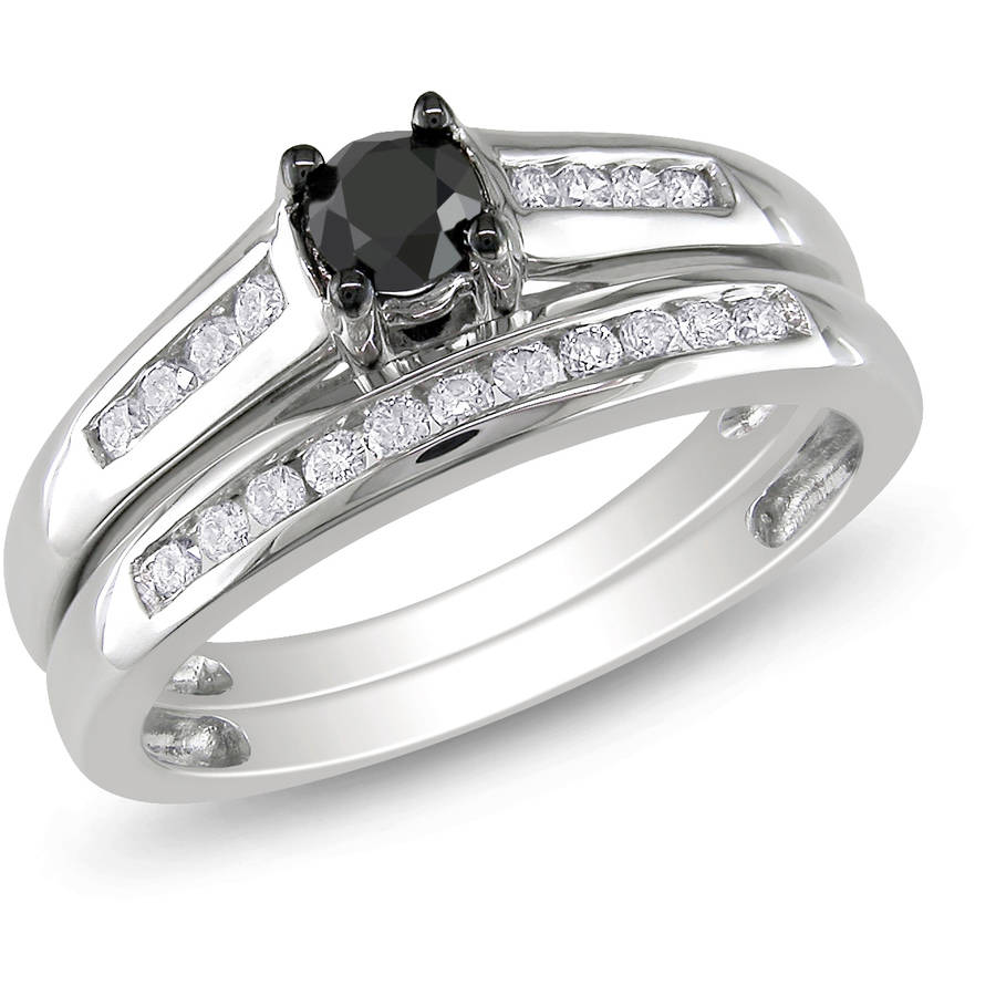 1/2 Carat T.W. Black and White Diamond 10kt White Gold Bridal Set