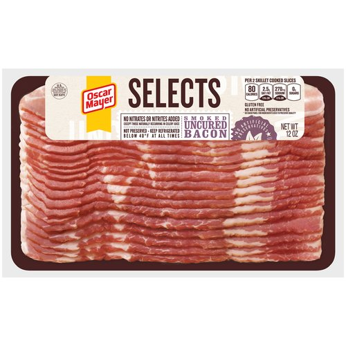 Oscar Mayer Selects Smoked Uncured Bacon, 12 oz
