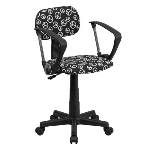 Peace Sign Printed Computer Chair with Arms