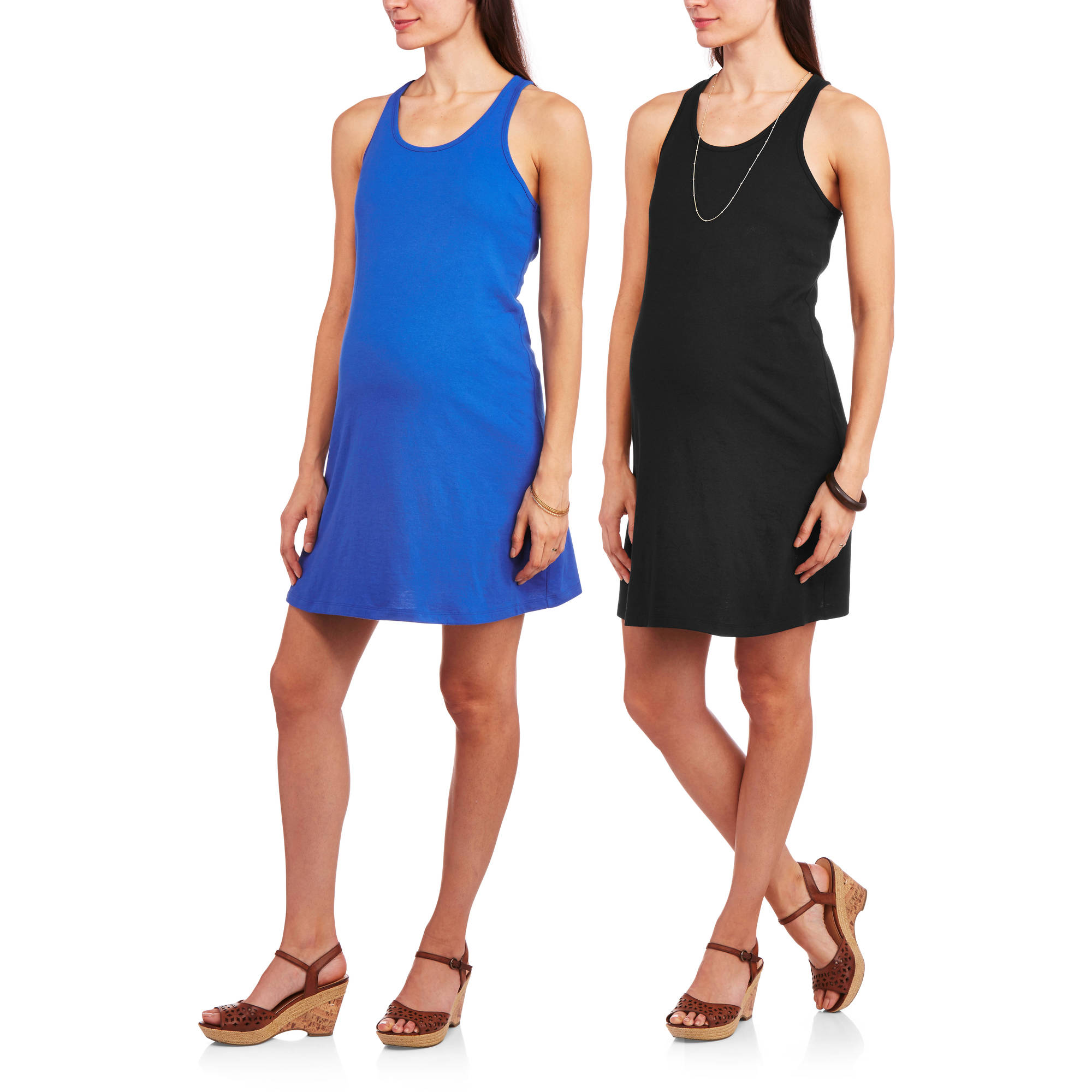 Faded Glory Maternity Racerback Tank Dress, 2-Pack