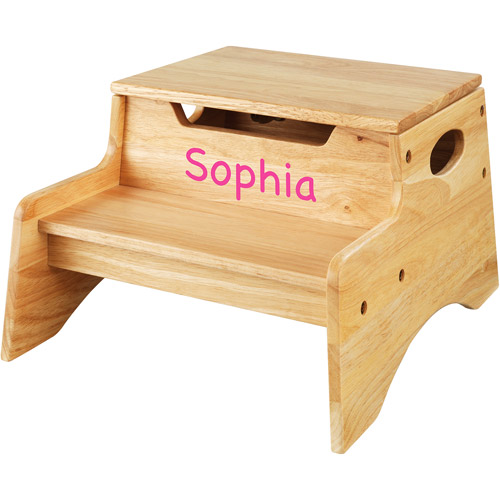 KidKraft - Personalized Step 'N Store Natural with Pink Marker Font - Girl