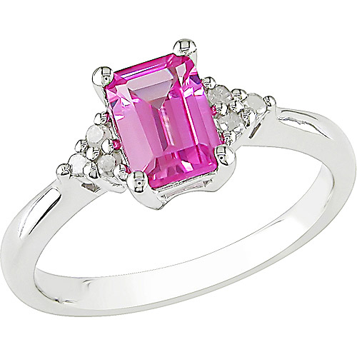 1.59 Carat T.G.W. Created Pink Sapphire and 1/10 Carat T.W. Diamond Fashion Ring in Sterling Silver