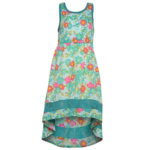 Big Girls Turquoise Floral Print Lace Detail Hi-Lo Sleeveless Dress 14