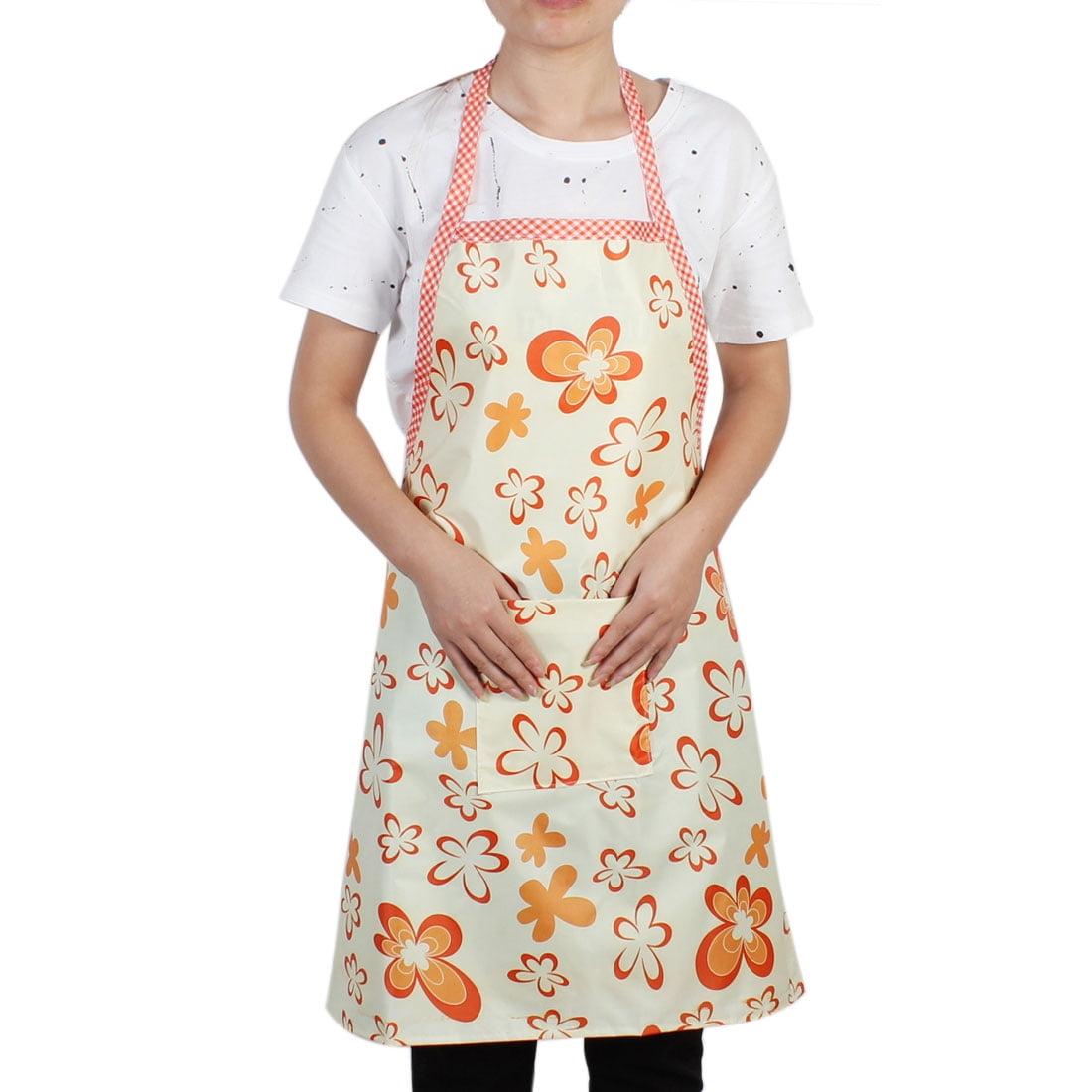 Kitchen Household Orange Flower Pattern Water Resistant Cooking Apron Bib Dress