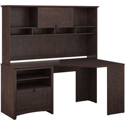 Bush Furniture Buena Vista Corner Desk & Hutch in Madison Cherry Finish