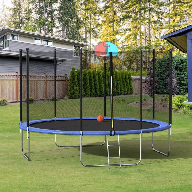 Merax 12' Trampoline with Basketball Hoop and Enclosure, Blue