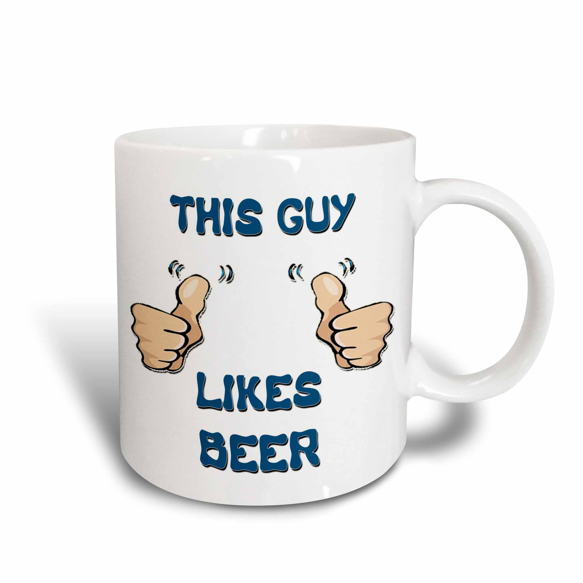 3dRose This Guy Likes Beer, Ceramic Mug, 11-ounce