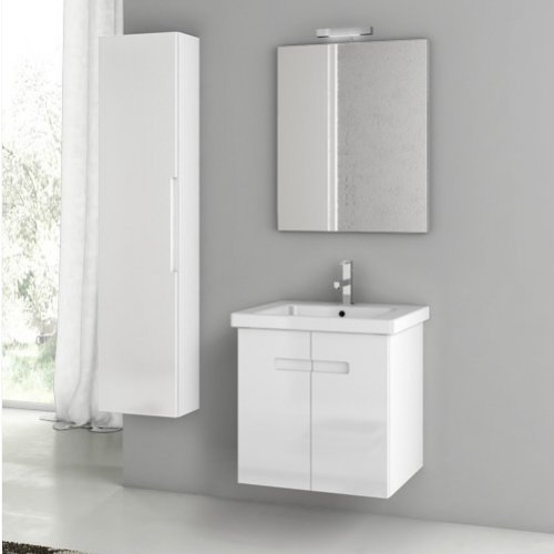 ACF by Nameeks ACF NY09-GW New York 24-in. Single Bathroom Vanity Set - Glossy White