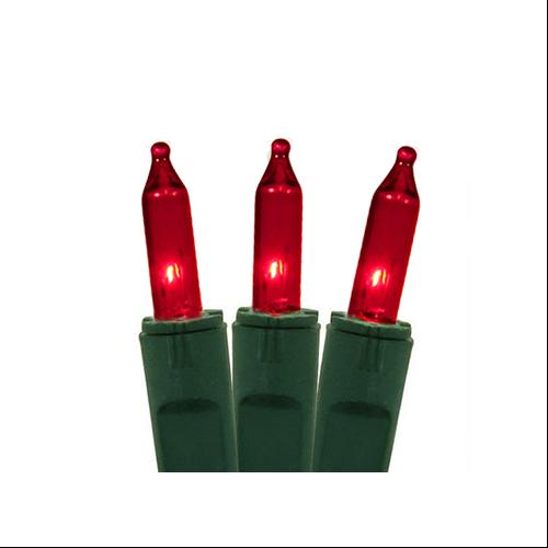 Set of 50 Red Perm-O-Snap Mini Christmas Lights - Green Wire