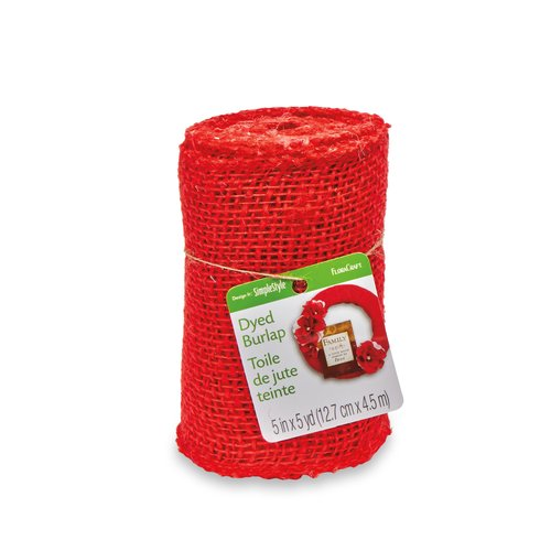 "Floracraft Burlap 5""x5yd Roll Red"