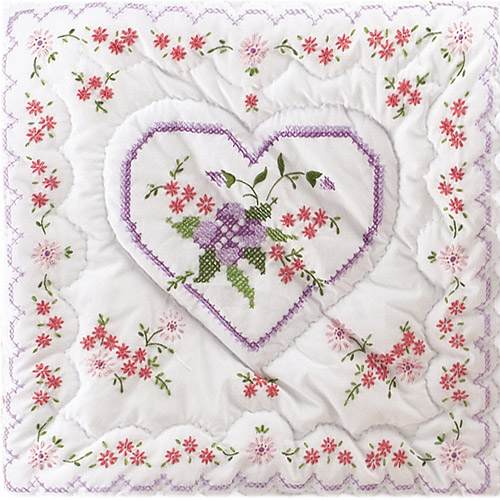 "Tobin Lilac Hearts Stamped White Quilt Blocks, 18"" x 18"""
