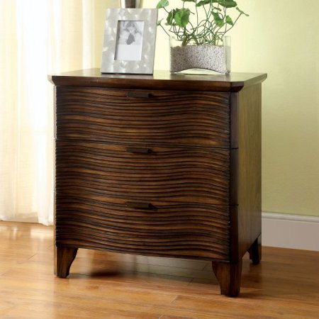 Furniture of America Banaue Grooved 3 Drawer Nightstand