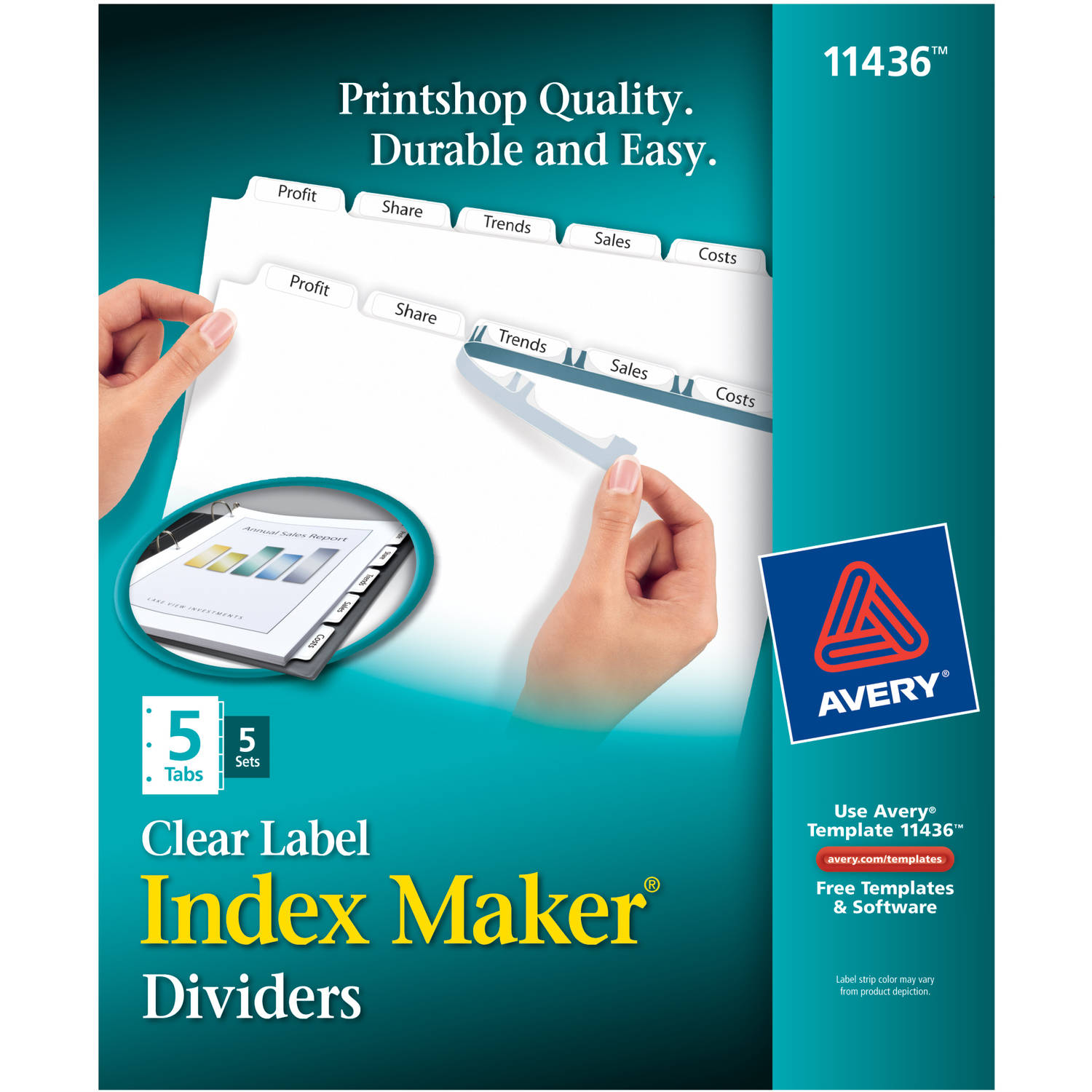 Avery Index Maker Clear Label Dividers 11436, 5-Tab, 5 Sets, White