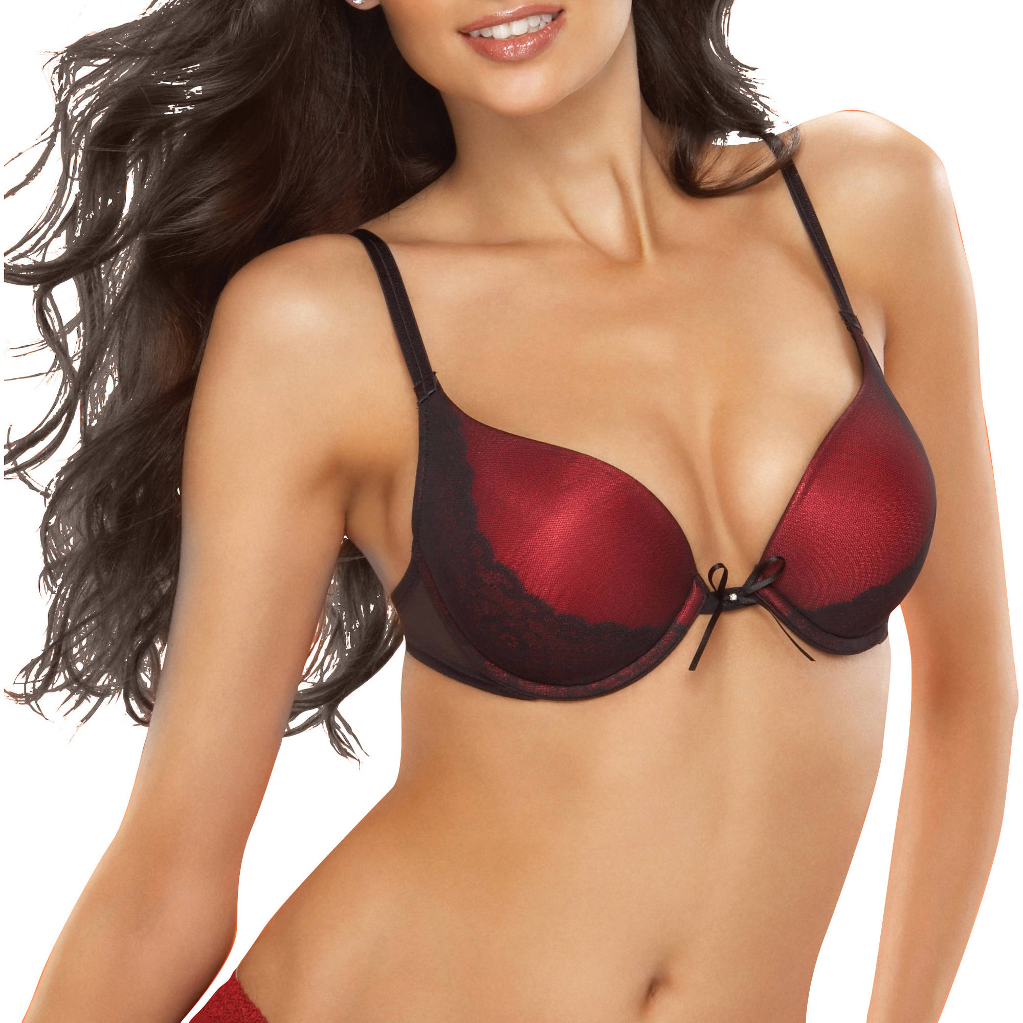 Vassarette Women's Lace Overlay Push-Up Level 3 Bra