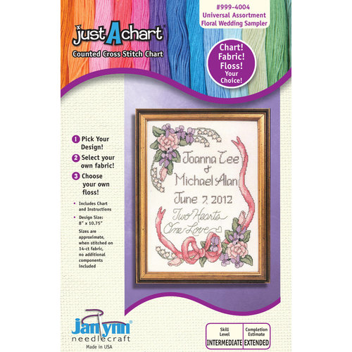 "Janlynn Just-A-Chart ""Floral Wedding Sampler"" Counted Cross Stitch Chart"