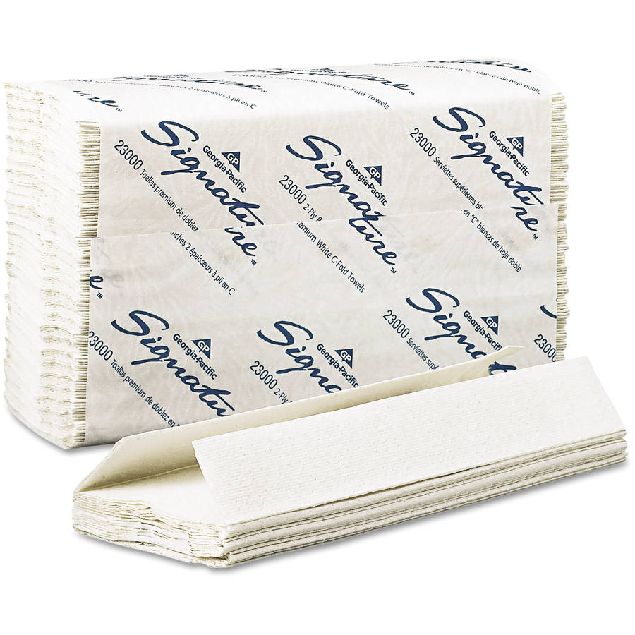 Georgia Pacific Signature C-Fold White Paper Towels, Includes 12 Packs of 120 Towels, 1,440 Towels Total