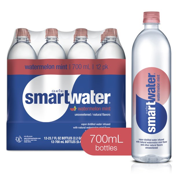 (12 Bottles) smartwater watermelon mint, vapor distilled premium bottled water, 23.7 fl oz