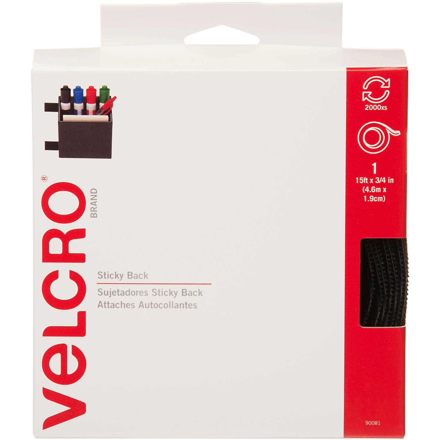 VELCRO Sticky-Back Hook & Loop Fastener Tape w/Dispenser, 3/4'' x 15 ft Roll