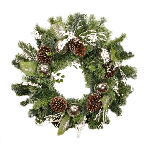 "24"" Pre-Decorated and Lightly Frosted Silver Ball, Berry and Pine Cone Artificial Christmas Wreath - Unlit"