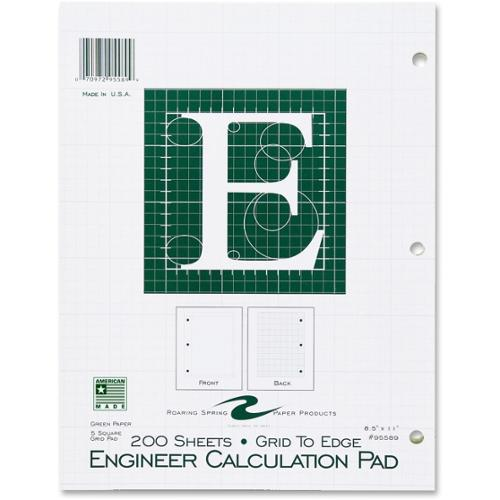 "Roaring Spring Engineering Pad - 200 Sheets - Printed - Letter 8.50"" x 11"" - Green Paper - 1Each"