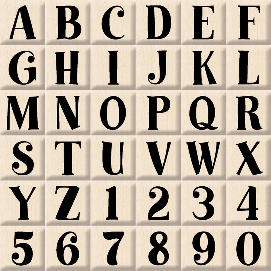 "Inkadinkado Mounted Rubber Stamp Bills Alphabet Uppercase Set, 3"" x 3"""