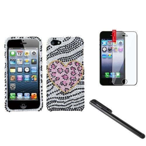 Insten Playful Leopard Diamond Case Bling Hard Cover For iPhone 5 5s+Pen+Film