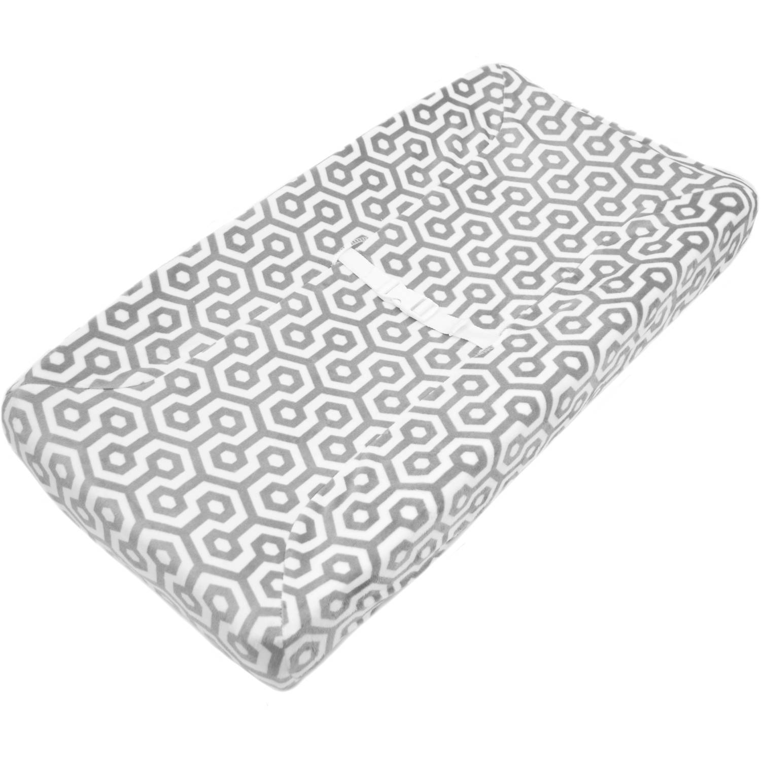TL Care Heavenly Soft Chenille Fitted Contoured Changing Pad Cover, Gray Honeycomb