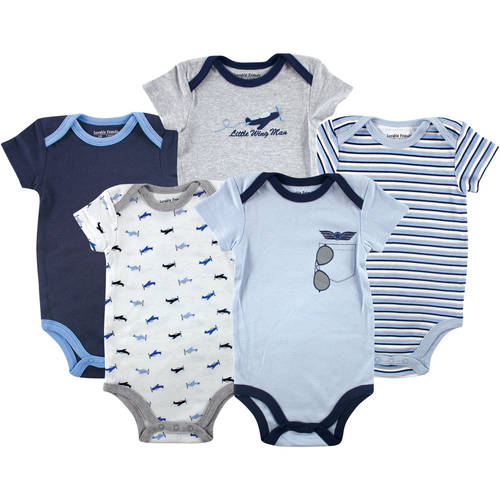 Luvable Friends Newborn Baby Boys Bodysuit 5-Pack Airplane