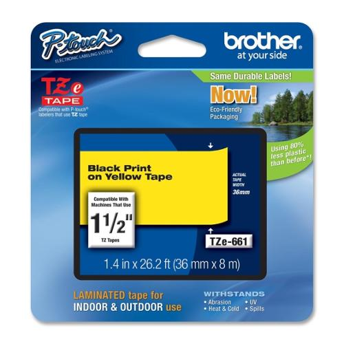 "Brother TZE-661 Black on Yellow Lettering Tape - 1.50"" Width x 26.20 ft Length - Thermal Transfer, Direct Thermal - Yell"