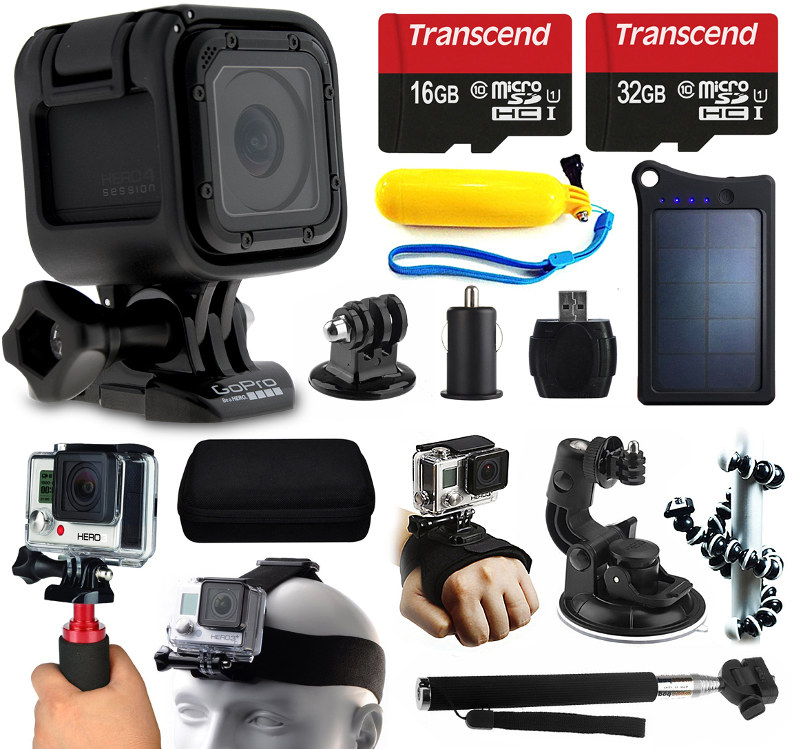 GoPro HERO4 Session HD Action Camera (CHDHS-101) + 48GB Essetial Accessories Bundle includes Solar Charger + Stabilizer + Head Strap + Car Mount + Selfie Stick + Travel Case + Car Charger + More!