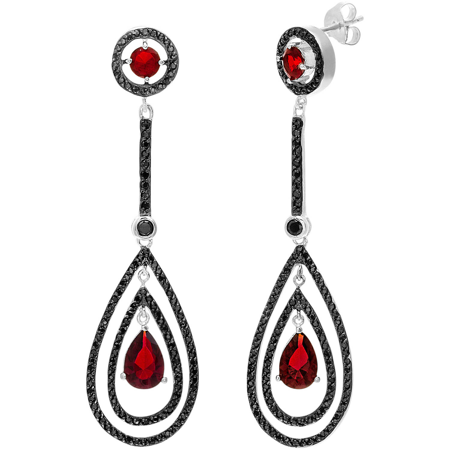 Angelique Silver Red and Black CZ Two-Tone Sterling Silver Teardrop Post Earrings