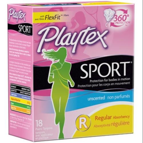 Playtex Sport Tampons Regular Unscented 18 Each (Pack of 2)