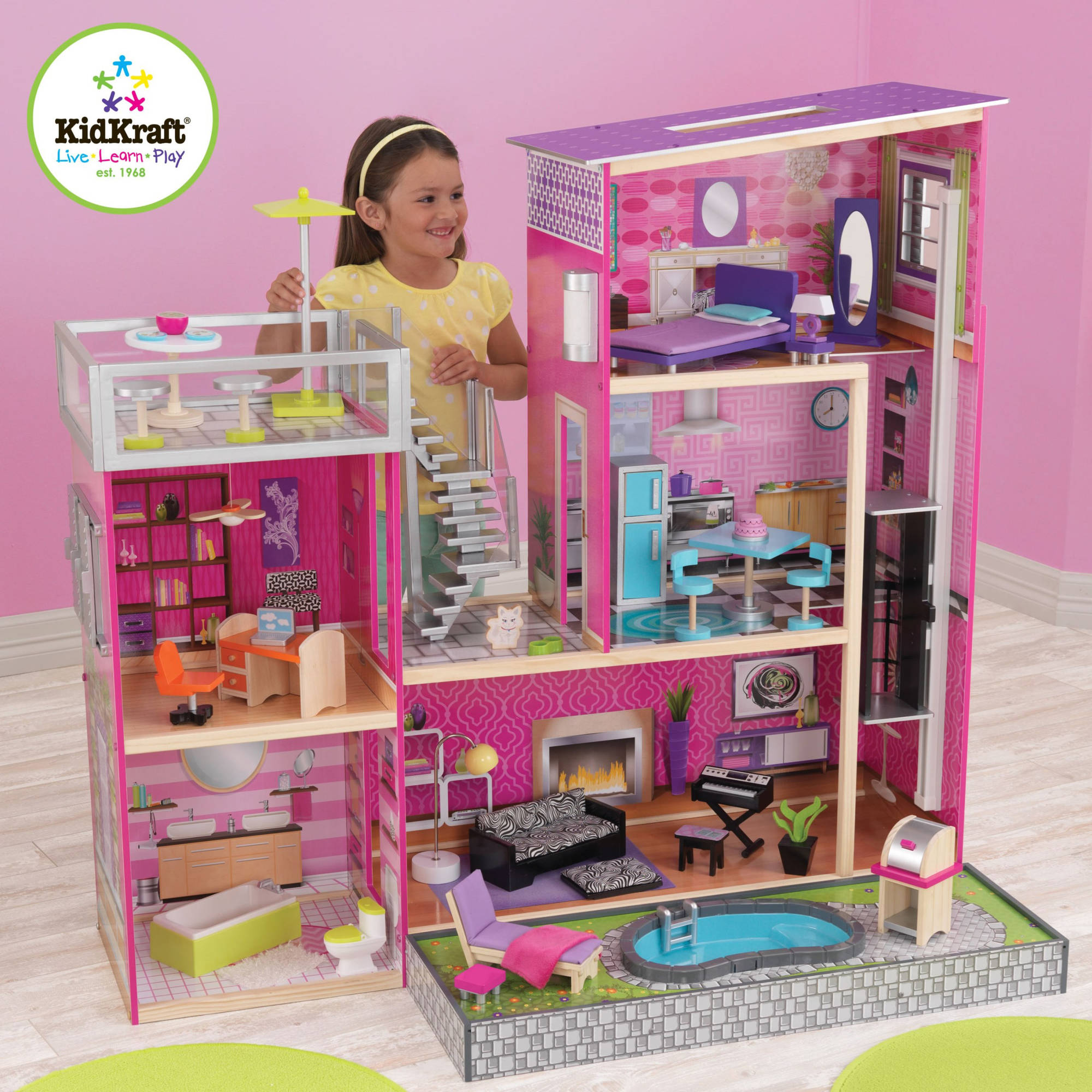 KidKraft Uptown Wooden Dollhouse With 35 Pieces of Furniture