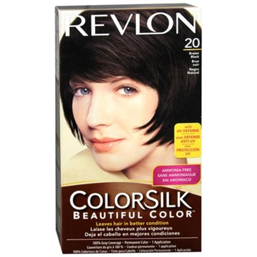 Revlon ColorSilk Hair Color, 20 Brown Black 1 ea (Pack of 2)