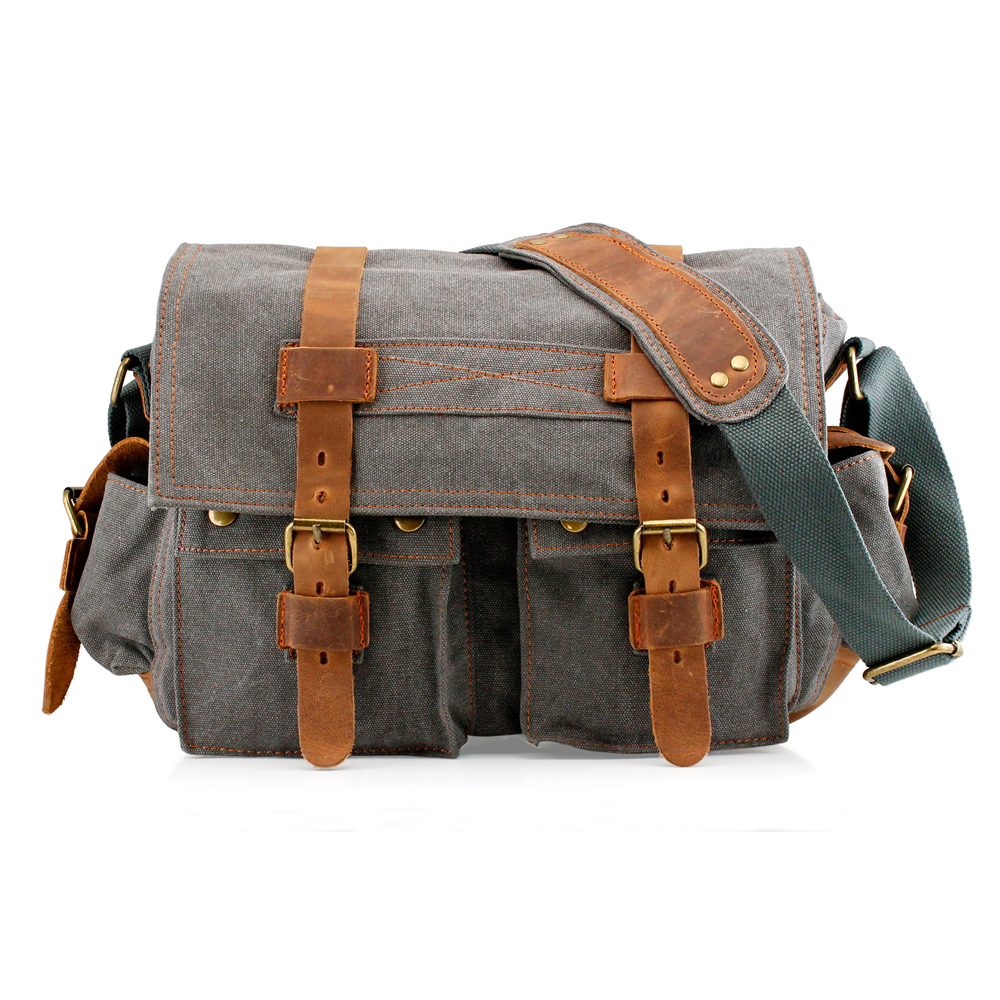 Men's Vintage Canvas and Leather Satchel School Military Shoulder Bag Messenger - Slate