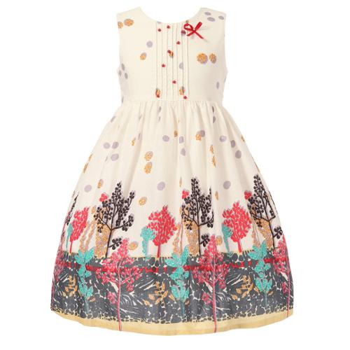 Richie House Girls White Pleated Forest Printed Dress 7-9