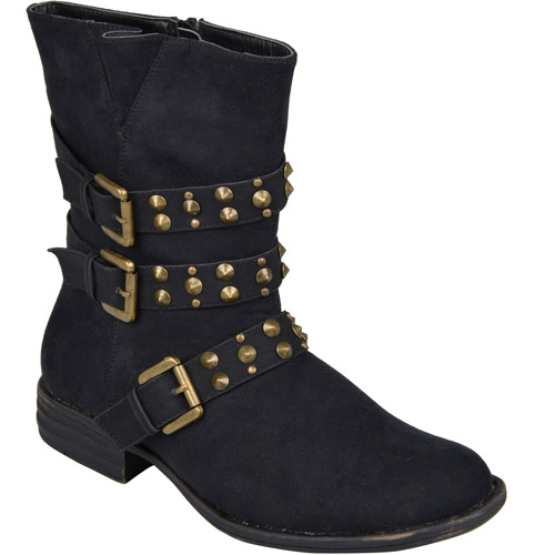 Brinley Co. Women's Almond Toe Zipper Detail Boots