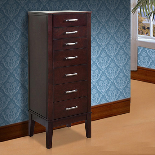 Powell Wooden Jewelry Armoire, Dark Espresso Finish