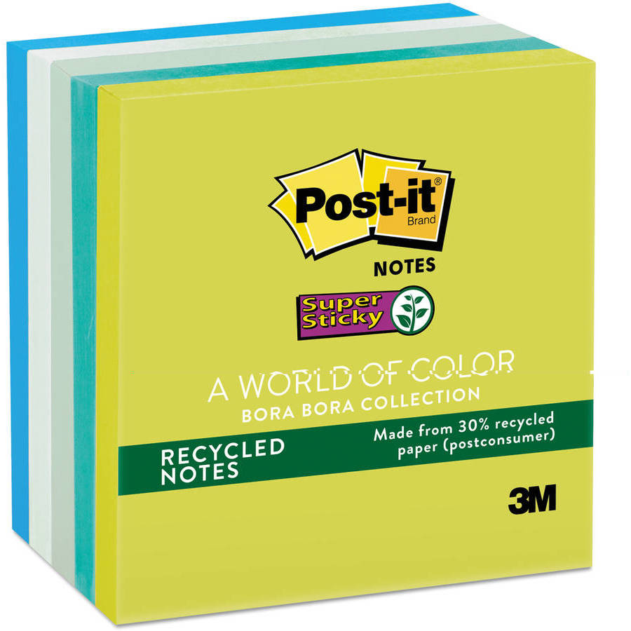 Post-it Notes Super Sticky Super Sticky Notes, 3 x 3, 5 90-Sheet Pads, Bora Bora Collection