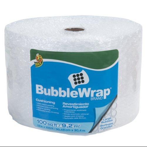 "Duck Brand Bubble Wrap Cushioning, Large Bubble, Clear, 12"" x 100'"