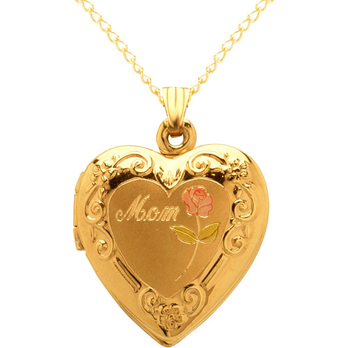 "14kt Yellow Gold ""Mom"" with Rose Locket Pendant, 18"""